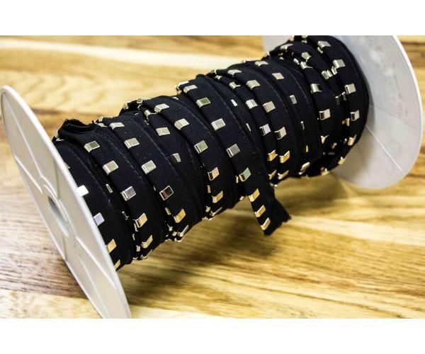 Кант с металлическими зажимами (черная ткань, никель, полиэстр, металл, шир. 15 мм)