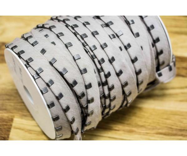 Кант с металлическими зажимами (светло-серая ткань, состаренный никель, коттон, металл, шир. 15 мм)