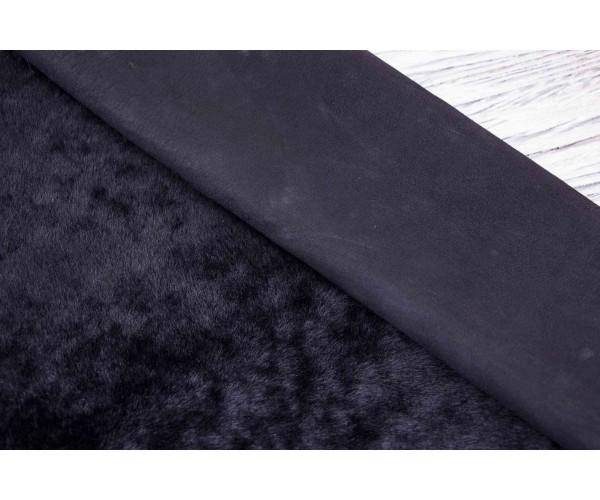 Дубленка козлик на замшевой основе (черный, мех короткий черный)