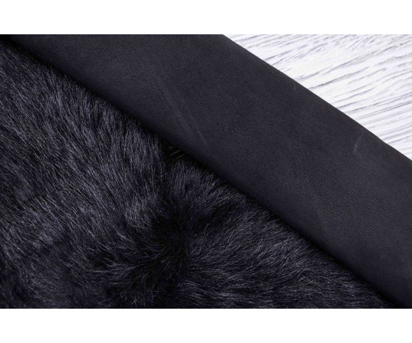Дубленка козлик на замшевой основе (черный, мех длинный (тоскана) черный)