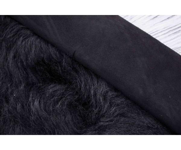 Дубленка козлик на замшевой основе (черный, мех (тоскана) длинный черный)