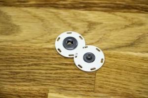 Кнопка металл 25 мм (отполированный, белый)