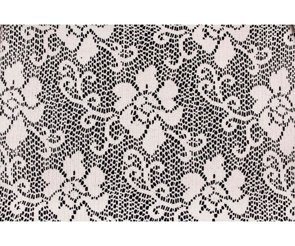 Ткань гипюр Италия (коттон 100%, бежевый, цветы, цена за отрез 1,75м, шир. 1,60 м)