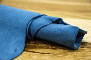 Кожа галантерейная овчина Италия (голубой, плотный, велюр)