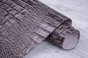 Кожа КРС Турция (коричнево-серый, штамп под крокодила)