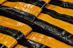 Кожа экзотическая угорь Италия (желтый, черный, полосы)