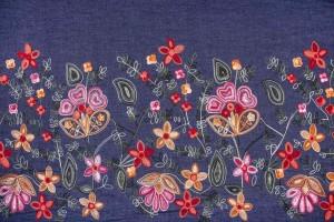 Ткань джинс Италия (тонкий, коттон 100%, вышивка, купон поперечный, синий, ширина 1,50 м)
