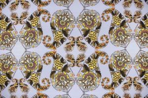 Ткань креп Италия (полиэстер 100%, бледно-голубой, цветы, шир. 1,50 м)