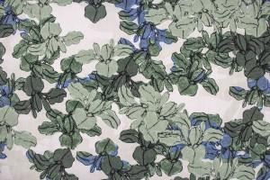 Ткань коттон Италия (коттон 100%, песочно-зеленый, цветы, шир. 1,55 м)