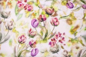 Ткань шифон Италия (фактурный, шелк 100%, бежевый, цветы, шир.1,35 м)