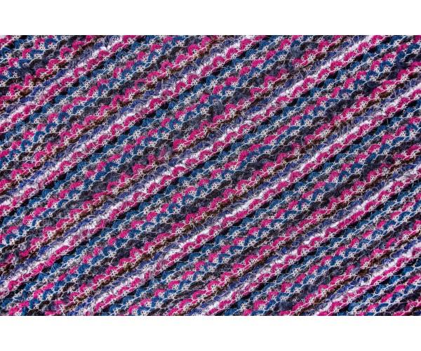Ткань вязаное букле Италия (шерсть 100%, цена за отрез 0,80м, бирюзово-малиновый, петли, шир. 1,50 м)