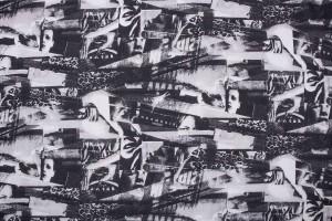 Ткань крепдешин Италия (шелк 100%, черно-белый, печать, шир. 1,40 м)