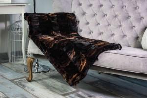 Меховое полотно лисьи лапки (черно-коричневый, стриженная)