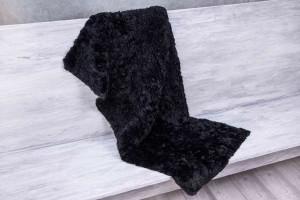 Меховое полотно альпака (черная, пушистая)