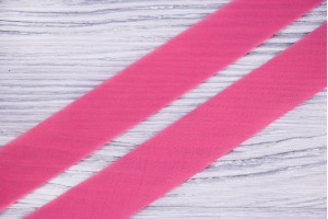 Косая бейка Италия (батист, коттон 100%, ярко-розовый, шир. 2,5 см)