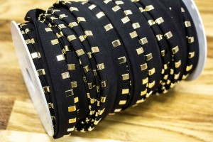 Кант с металлическими зажимами (черная ткань, золото, полиэстр, металл, шир. 15 мм)