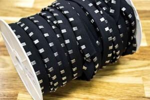 Кант с металлическими зажимами (черная ткань, состаренный никель, коттон, металл, шир. 15 мм)