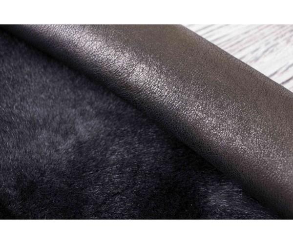 Дубленка козлик на кожаной основе (черный, черная кожа)