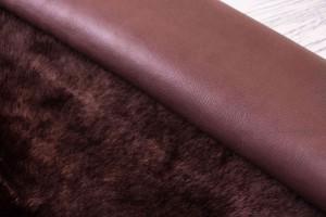Дубленка овчинана кожаной основе (бордо, бордовая кожа, мутон)