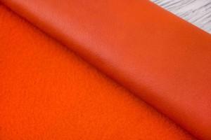 Дубленка овчинана кожаной основе (рыжий, оранжевая кожа, короткошерстная)