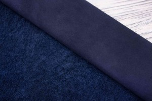Дубленка овчина на замшевой основе (темно-синий, мех короткий синий)