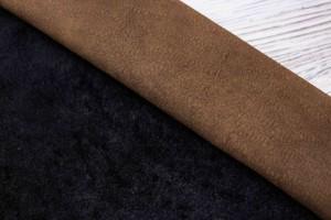 Дубленка овчина на замшевой основе (коричневый, мех короткий черный)