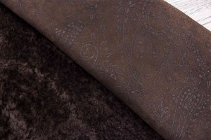 Дубленка овчина на замшевой основе (темно-коричневый, штамп)