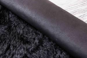 Дубленка козлик c кожаной основой (черный, гладкий)