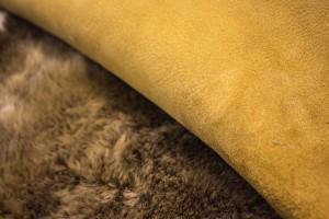 Дубленка овчина на замшевой основе (бежевый, рыжая кожа, меринос)