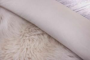 Дубленка овчина на кожаной основе (молочный, мех молочно-кремовый, длинный)