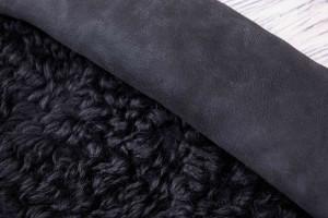 Дубленка овчина на замшевой основе (черный, замш, монголия)