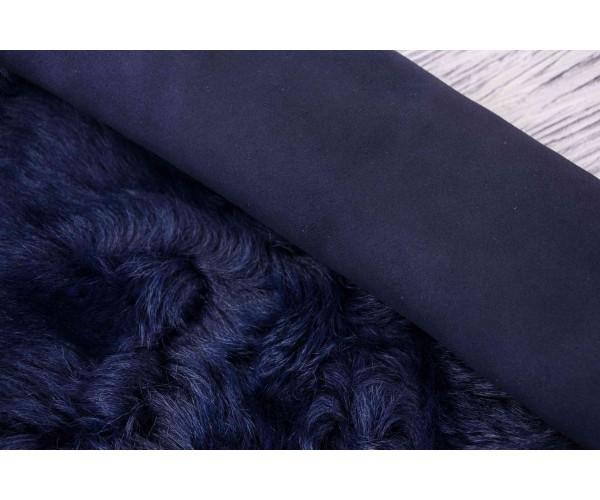 Дубленка овчина на замшевой основе (темно-синяя замша, монголия)