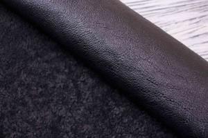 Дубленка овчина  (черная кожа, мех короткий черно-серый)