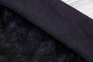 Дубленка овчина на замшевой основе (черная, мех короткий черный)