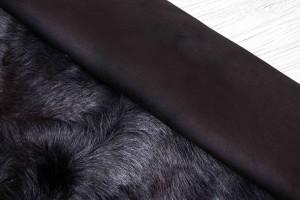 Дубленка козлик c замшевой основой (черный, замш, тоскана)