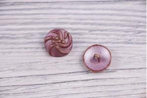 Пуговица Италия (на ножке, винтаж, бордово-бронзовый, никель, 1.7 см)