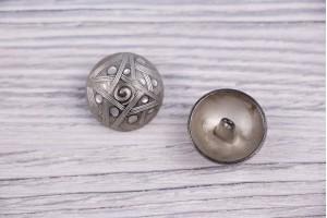 Пуговица Италия (на ножке, винтаж, никель, 2.2 см)