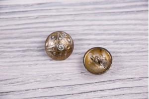 Пуговица Италия (на ножке, состаренный, серебристо-золотой, никель, 1.8 см)