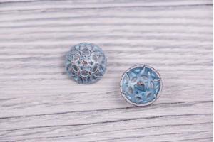 Пуговица Италия (на ножке, винтаж, голубой, никель, 1.8см)
