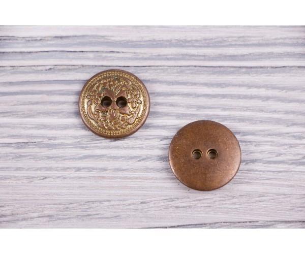 Пуговица Италия (винтаж, коричнево-золотой, никель, 2см)