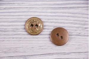 Пуговица Италия (винтаж, коричнево-золотой, никель, 1.8 см)