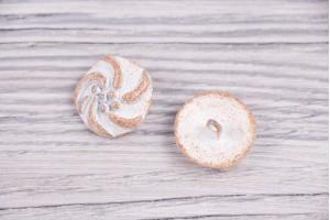 Пуговица Италия (на ножке, молочный, винтаж, никель, 2,2 см)