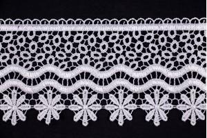 Кружево Италия (полиэстер 100%, белый, горох, цветы, шир. 8 см)