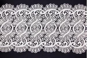 Ткань гипюр Италия (кружево, полиэстер 100%, молочный, узор, шир. 0,18 м)