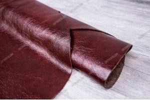 Кожа КРС Италия (бордово-коричневый, миненая, глянец, лак, фактура)