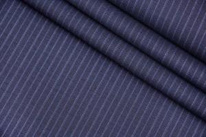 Ткань костюмно-плательная Италия (шерсть 100%, сине-черная, полоски, шир. 1,60 м)