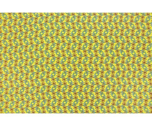 Ткань  штапель Италия (вискоза 100%, желтый, цветы, шир. 1,40 м)