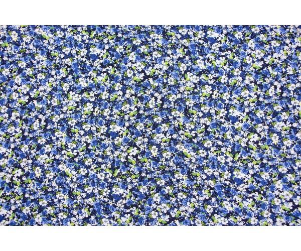 Ткань штапель Италия (вискоза 100%, голубой, цветы, шир. 1,40 м)
