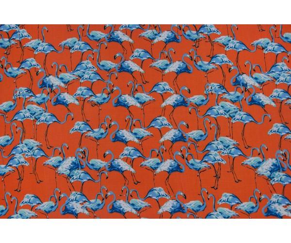 Ткань штапель Италия (вискоза 100%, оранжевый, фламинго, шир. 1,40 м)