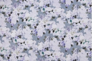 Ткань креп Италия (вискоза 100%, светло-серый, цветы, шир. 1,40 м)